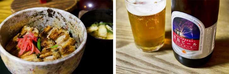 穴子料理と宮島ビール
